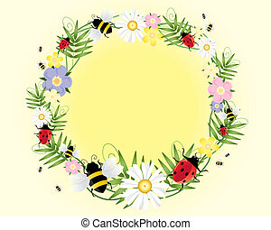 ladybugs and bees - an illustration of ladybugs bees flowers...