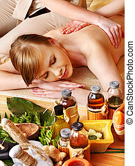 Massage in  beauty spa. Still life in the foreground.