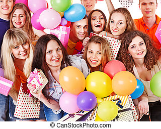 Group people on party. - Group people with balloon on party....