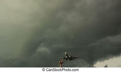 plane landing in storm