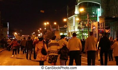 Crowd in the evening