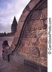 Prambanan Balustrade Bas-relief, Central Java, Indonesia -...
