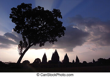 Prambanan Ruins, Central Java, Indonesia - Silhouette of the...