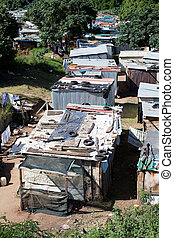 poverty - informal settlement in Durban, South Africa