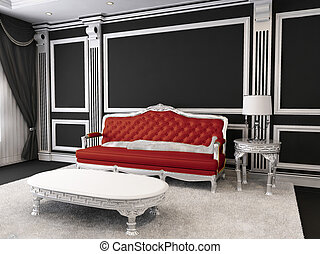 Red leather sofa, table, lamp, furry rug. Luxurious...
