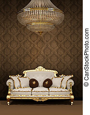 Baroque sofa and chandelier in luxury apartment