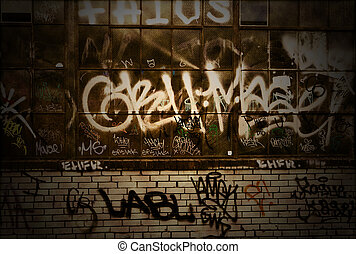 Graffiti Grunge Covered Brick Wall Background Texture -...