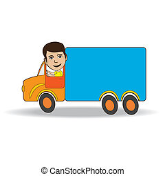 truck-driver - Illustration of a truck driver isolated in...