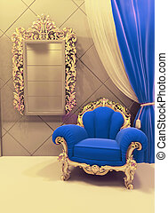 Royal furniture in a luxurious interior, dark blue pattern -...