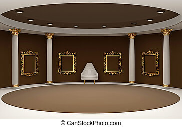 Golden empty frames in museum interior space
