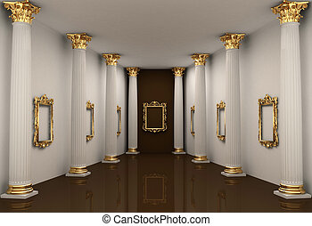 Perspective of gallery walls with Corinthian order column