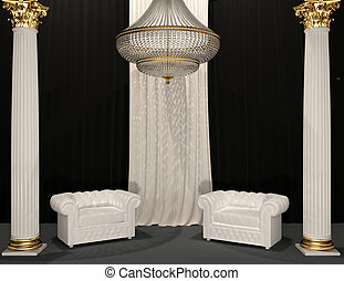 Classic luxury armchairs in royal interior with column