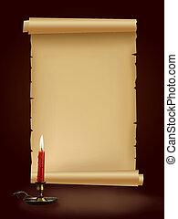 stary, Starożytny, papier, rękopis, świeca, brązowy,...