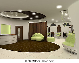 Outlook of luxury beauty salon interior space apartment