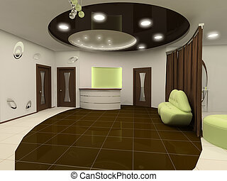 Perspective ceiling construction of interior design salon space