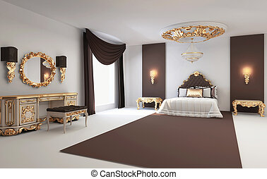 Baroque bedroom with golden furniture in royal interior...