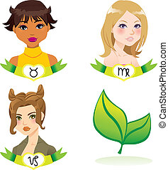 Earth Zodiac Women - Cartoon illustration of earth zodiac...