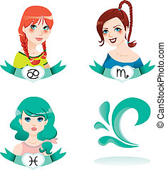 Water Zodiac Women - Cartoon illustration of water zodiac...