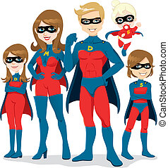 Superhero Family Costume - Portrait of beautiful family...