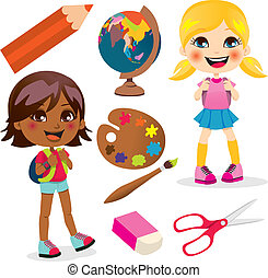 School Girls - Two little girls back to school with many...