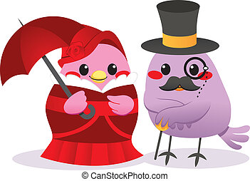 Victorian Birds - Cute married bird couple in Victorian...