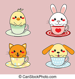 Teacup Animals - Four adorable cute little animals inside...