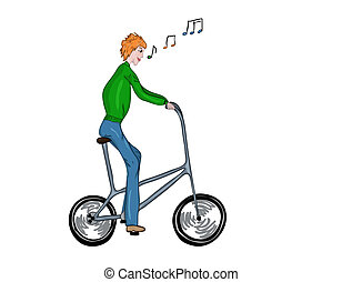 Funny high bicyclist. - Funny, high, singing bicyclist....