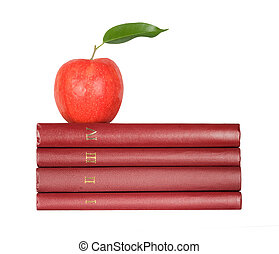Red apple on pile of books on white background