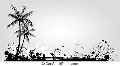 Palm trees on grunge background in black color