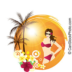 Tropical background with palms and young woman - Round...
