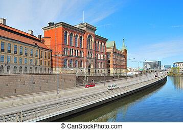 Stockholm. Riddarholmen Island embankment - Stockholm....