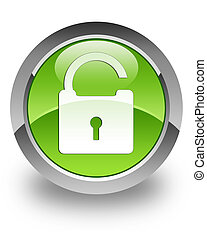 Unlock glossy icon - unlock icon on glossy green round...