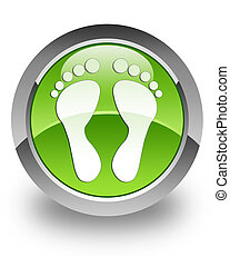 Footprint glossy icon - footprint icon on glossy green round...