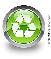 Recycle glossy icon - recycle icon on glossy green round...