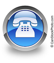 Telephone glossy icon - telephone icon on glossy blue round...