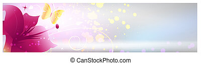 Background with pink lily flower - Shiny grunge banner with...