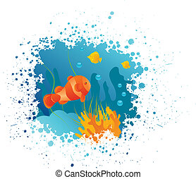 Grunge underwater background with clownfish