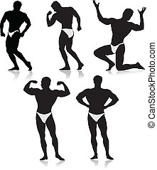 Bodybuilder silhouette.Vector - bodybuilders collection...