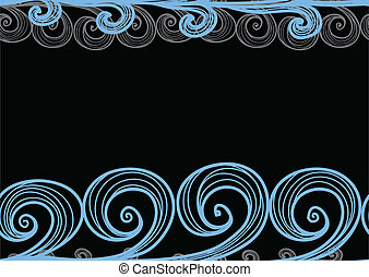 sea waves on black - Seamless background of hand-drawn sea...