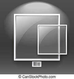 Glass boards with white frame on the wall. Text template