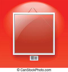 Glass board with white frame on a red wall with barcode...