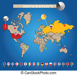 Color earth map with flags