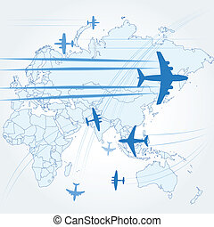 Transport and civil airplanes paths over the map of the...