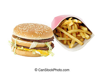 Fast food menu: double burger and french fries