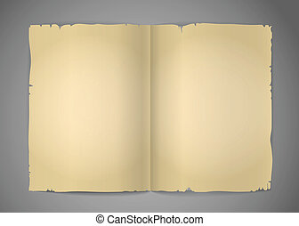 Blank cracked book pages vector template for a content
