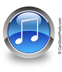Music glossy icon - music icon on glossy blue round button