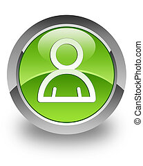 Member glossy icon - member icon on green glossy green round...