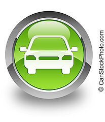 Car glossy icon - car icon on glossy green round button