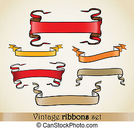 Vintage vector ribbons set