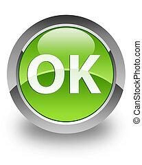 OK glossy icon - OK icon on glossy green round button